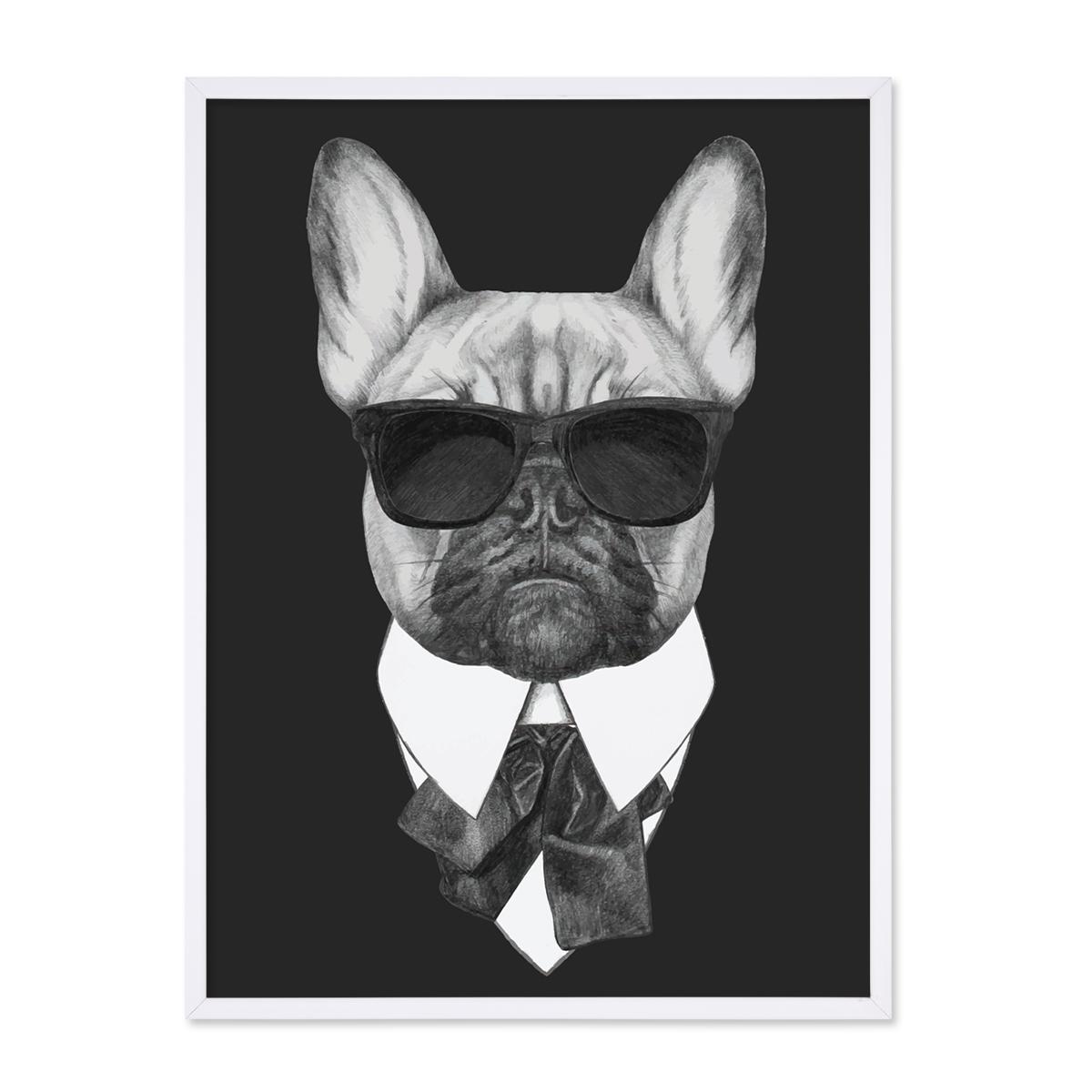 Poster Bulldogge 30x40 Cm Schwarz Weiss Motiv Hund Mops Zeichnung