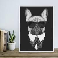 Poster Bulldogge 30x40 cm schwarz-weiss Motiv Hund Mops Zeichnung