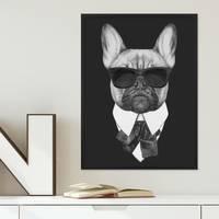 Poster 'Bulldogge' 30x40 cm schwarz-weiss Hund Mops Zeichnung – Bild 3