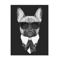 Poster 'Bulldogge' 30x40 cm schwarz-weiss Hund Mops Zeichnung – Bild 2