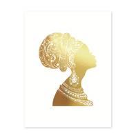 Design-Poster 'Woman Gold' 30x40 cm Goldaufdruck Frau Afrika Deko – Bild 2