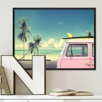 Poster Vintage Car 30x40 cm Bulli Strandbild Landschaft Nostalgie