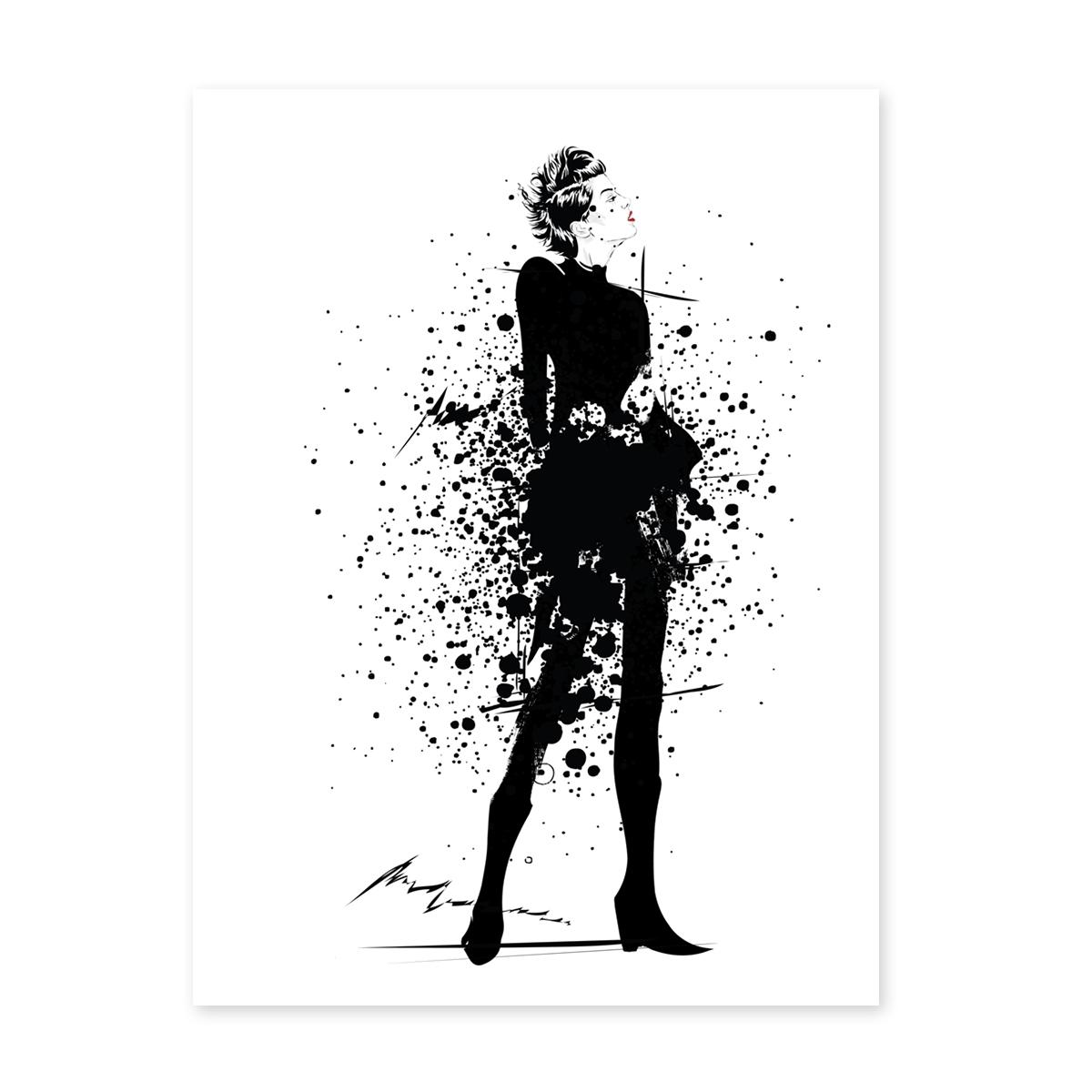 Design Poster Fashion 30x40 Cm Schwarz Weiss Frau Splash Look