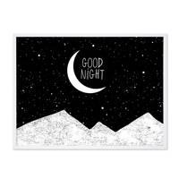 Design-Poster 'Good Night' 30x40 cm schwarz-weiss Spruch Mond – Bild 4