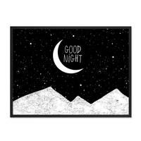 Design-Poster 'Good Night' 30x40 cm schwarz-weiss Spruch Mond – Bild 3