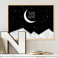 Design-Poster Good Night 30x40 cm schwarz-weiss Typographie Mond