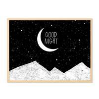 Design-Poster 'Good Night' 30x40 cm schwarz-weiss Spruch Mond – Bild 5