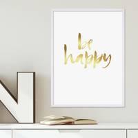 Design-Poster Happy Gold 30x40 cm Goldaufdruck Spruch Typograhie