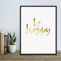 Design-Poster 'Happy Gold' 30x40 cm Goldaufdruck Spruch Typograhie – Bild 4