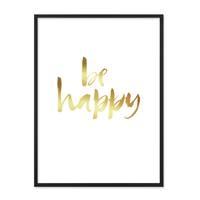 Design-Poster 'Happy Gold' 30x40 cm Goldaufdruck Spruch Typograhie – Bild 3