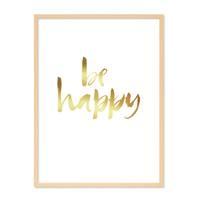 Design-Poster 'Happy Gold' 30x40 cm Goldaufdruck Spruch Typograhie – Bild 6