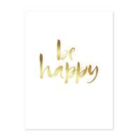 Design-Poster 'Happy Gold' 30x40 cm Goldaufdruck Spruch Typograhie – Bild 2
