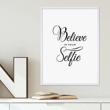 Poster 'Selfie' 30x40 cm schwarz-weiss Fun Spruch Typographie