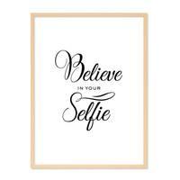 Poster 'Selfie' 30x40 cm schwarz-weiss Fun Spruch Typographie – Bild 6