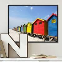Poster Hütten am Strand 30x40 cm Motiv Natur Landschaft Foto Bunt