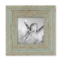 Vintage Bilderrahmen 10x10 cm Grau-Grün Shabby-Chic Massivholz mit Glasscheibe und Zubehör / Fotorahmen / Nostalgierahmen  – Bild 1