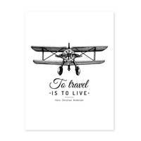 Poster 'To Travel' 30x40 cm schwarz-weiss Motiv Spruch Typographie – Bild 2