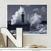 Poster Wellen 30x40 cm schwarz-weiss Natur See Leuchtturm Foto