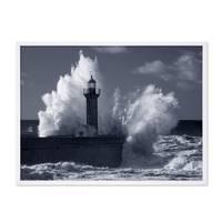 Poster 'Wellen' 30x40 cm schwarz-weiss Natur See Leuchtturm Foto – Bild 4