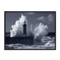 Poster 'Wellen' 30x40 cm schwarz-weiss Natur See Leuchtturm Foto – Bild 3