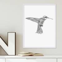 Design-Poster 'Kolibri' 30x40 cm schwarz-weiss Vogel Zeichnung – Bild 4