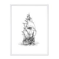 Design-Poster 'Piratenschiff' 30x40 cm schwarz-weiss Zeichnung – Bild 5