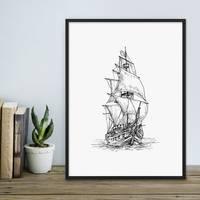 Design-Poster Piratenschiff 30x40 cm schwarz-weiss Motiv Zeichnung