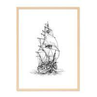 Design-Poster 'Piratenschiff' 30x40 cm schwarz-weiss Zeichnung – Bild 6