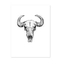 Design-Poster 'Büffel Schädel' 30x40 cm schwarz-weiss Zeichnung – Bild 2