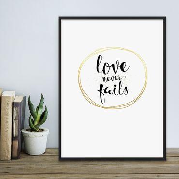 Poster 'Love Circle Gold' 30x40 cm Goldaufdruck Liebe Typographie