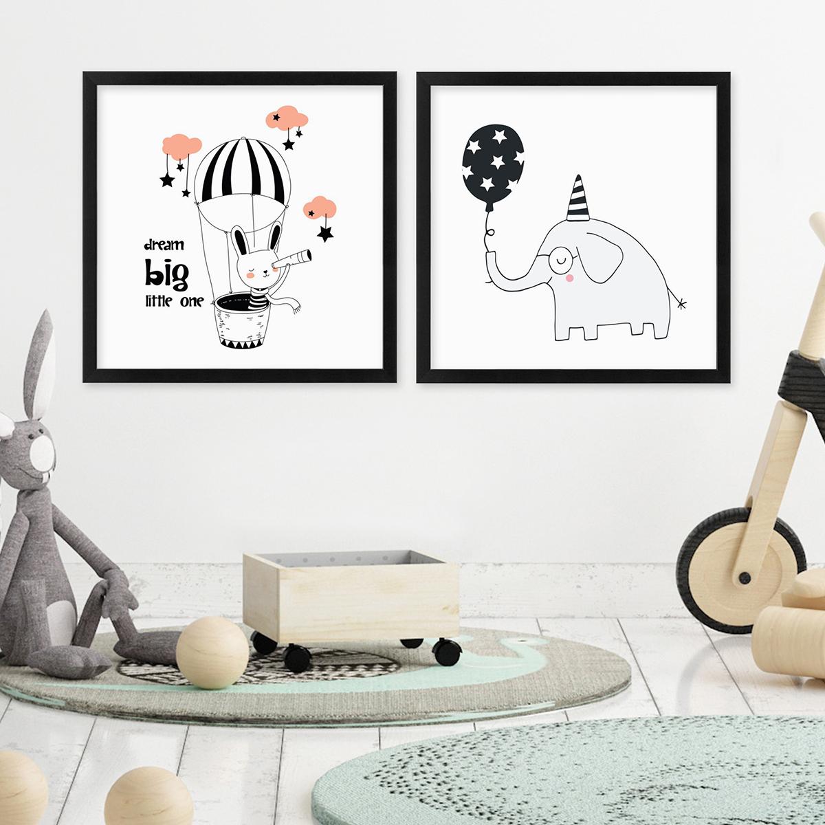 2er Set Kinder-Poster No.18 mit Bilderrahmen Schwarz 30x30 cm Rosa ...