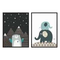 2er Set Kinder-Poster Elefanten Bär 30x40 cm mit Bilderrahmen Schwarz