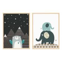 2er Set Kinder-Poster Elefanten Bär 30x40 cm mit Bilderrahmen Natur