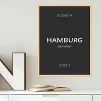 Design-Poster 'Hamburg' 30x40 cm schwarz-weiss Karte Typographie – Bild 5