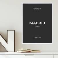 Design-Poster 'Madrid' 30x40 cm schwarz-weiss Karte Typographie – Bild 5