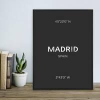 Design-Poster 'Madrid' 30x40 cm schwarz-weiss Karte Typographie – Bild 1