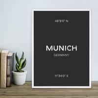 Design-Poster München 30x40 cm schwarz-weiss Typographie Munich
