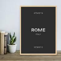 Design-Poster 'Rom' 30x40 cm schwarz-weiss Karte Typographie Rome