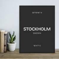 Design-Poster 'Stockholm' 30x40 cm schwarz-weiss Karte Typographie – Bild 4