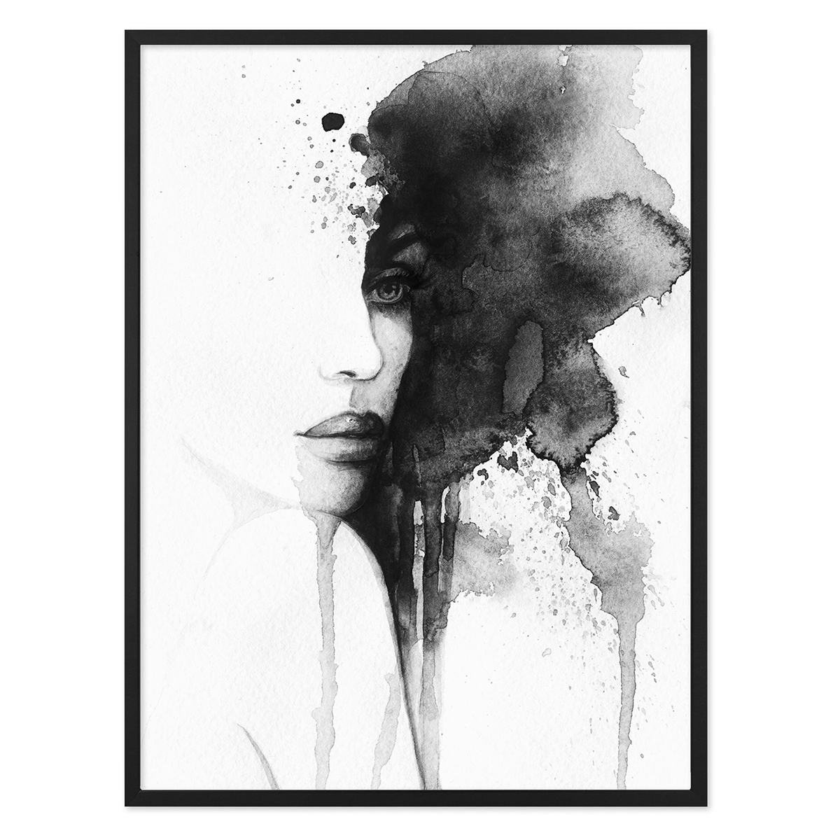 Design Poster Aquarell Frau 30x40 Cm Schwarz Weiss Abstrakt