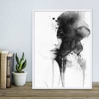 Design-Poster 'Aquarell Frau' 30x40 cm schwarz-weiss Abstrakt  – Bild 5