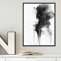 Design-Poster Aquarell Frau 30x40 cm schwarz-weiss Moderne Kunst