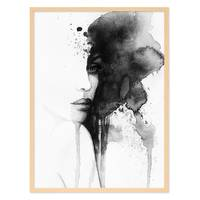 Design-Poster 'Aquarell Frau' 30x40 cm schwarz-weiss Abstrakt  – Bild 6