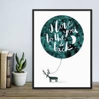 Poster Love Moon 30x40 cm Typographie Modern Spruch