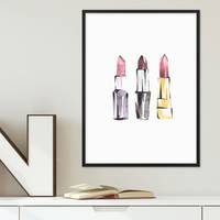 Design-Poster Lippenstift Set 30x40 cm Aquarell Fashion Abstrakt