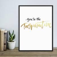 Poster mit Golddruck 'Inspiration' 30x40 cm Typographie Spruch – Bild 4