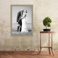 Vintage Bilderrahmen 50x70 cm Grau-Grün Shabby-Chic Massivholz m. Acrylglas inkl. Zubehör / Fotorahmen / Nostalgierahmen  – Bild 2