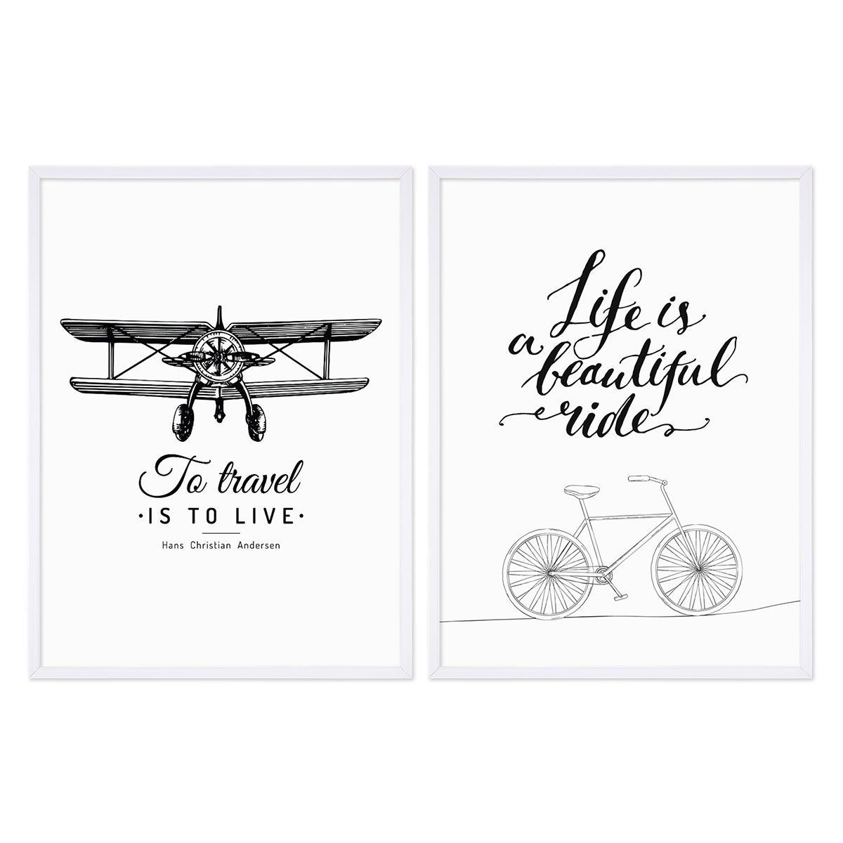 2er set schwarz weiss poster mit bilderrahmen weiss 30x40 cm typografie spruch reisen life. Black Bedroom Furniture Sets. Home Design Ideas