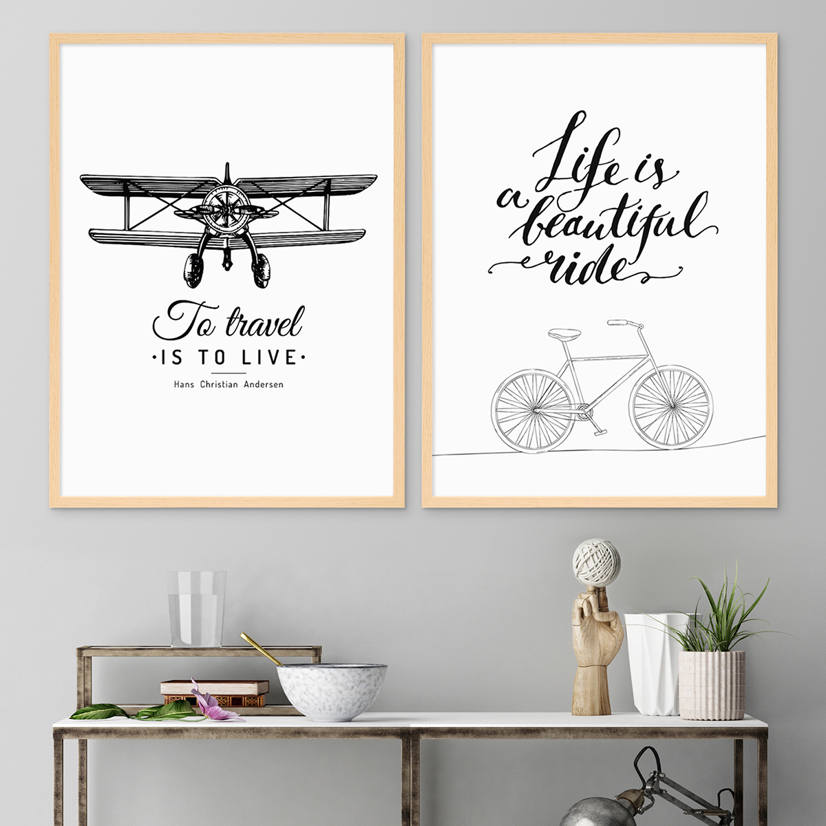 2er set schwarz weiss poster mit bilderrahmen natur 30x40 cm typografie spruch reisen life. Black Bedroom Furniture Sets. Home Design Ideas
