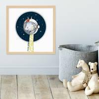 Kinder-Poster 'Giraffe' 30x30 cm Kinderzimmer Cartoon Astronaut – Bild 5